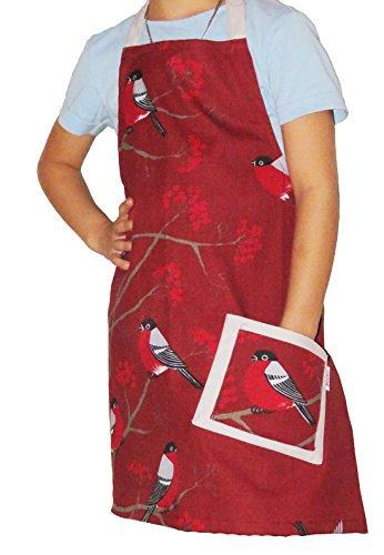 beties Beeren Vögel Kinderschürze 100% Baumwolle für kleine Helfer in der Küche langlebig & hautsympathisch Farbe (Marsala)