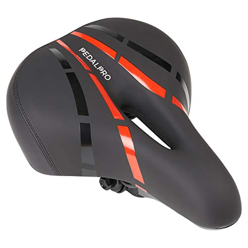 PedalPro Mountainbike-Sattel mit LED-Licht – Schwarz/Rot