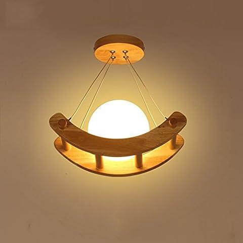 Ywyun plafonnier LED moderne et minimaliste, lampe de plafond en bois de style japonais, lampe de table café lustre chambre restaurant décoratif d'économie d'énergie