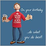 Beer & Curry Happy Birthday Card One Lump or Two Holy Mackerel Greeting Cards