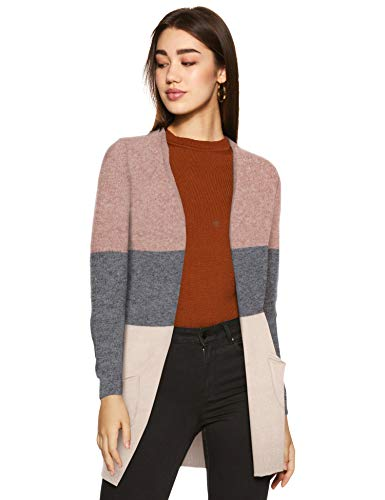 ONLY NOS Damen onlQUEEN L/S Long Cardigan KNT NOOS Strickjacke, Mehrfarbig (Misty Rose Stripes:W. MGM/Cloud Pink Melange), 38 (Herstellergröße: M)