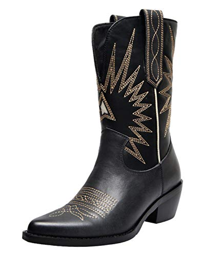 SimpleC Womens Pull On Cowboy Cowgirl Mid-Calf Western Boots