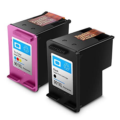 Cartucho de Tinta regenerado HP 901,HP 901 XL Cartuchos de Tinta de Alto Rendimiento para HP DeskJet, HP OfficeJet y HP Envy (1 Negro, 1 Tricolor)
