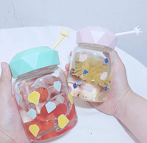 Niya Soft Persönlichkeit kreative Gläser Männer und Frauen Studenten bunten Diamanten Gesicht Tasse tragbare einfach hitzebeständige frische Glasfarbe Stil zufällig 2St