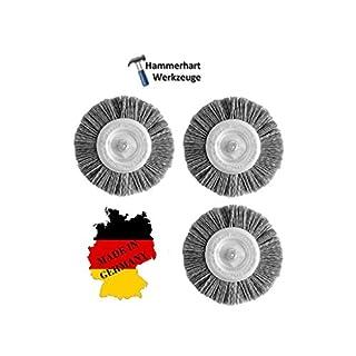 Set of 3Disc Brush with 6mm shank DRM 100x 8-10mm PA6Nylon–Made in Germany–suitable for Drills, Bosch/Einhell/Makita, Ryobi, Kress, Makita, Festool/Einhell/AEG/Black & Decker
