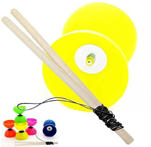 PassePasse ASTRA Kit Diabolo Enfant 3 à 6 ans fabriqué en Europe - Jaune - Vendu avec baguettes en bois et 1m ficelle pro 'Slide'.