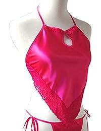 Delantal Sexy Ladies Saori Lace Hollow Delantal Rojo Mujer Adulto Pijamas Set Classic Apron Ropa Interior