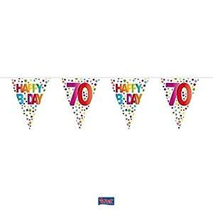 Folat 27170 70 Happy B-Day - Guirnalda de banderines con Puntos (10 m)