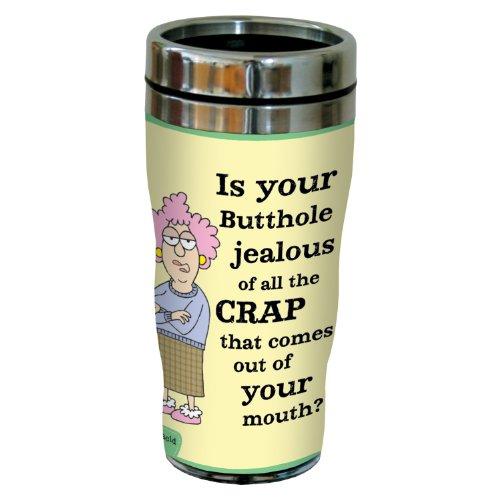 """'Aunty Acid """"Celos butthole"""" taza de viaje, acero inoxidable vaso de café, 16-ounce sg23783, divertido regalos para oficina compañeros de trabajo,"""