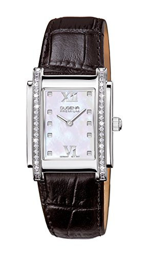 Dugena Women's Quartz Watch with Ivory Dial Analogue Display and Black Leather Strap
