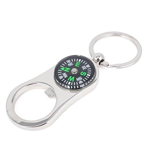 Kompass-Entwurf Flaschenöffner baumeln Anhänger Schlüsselanhänger Silber Ton