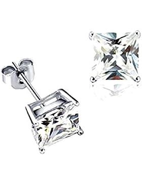 Akki Schmuck 925 Silber Ohrringe Männer Damen Herren Ohrstecker mm Quadrat Stein viereckige Ohrringe Ronaldo Style
