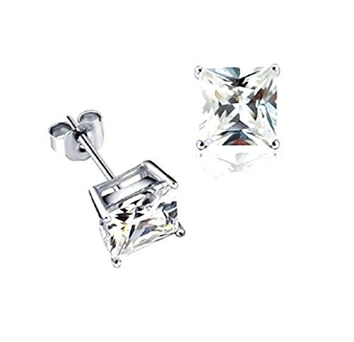 Akki Schmuck 925 Silber Ohrringe Männer Damen Herren Ohrstecker mm Quadrat Stein viereckige Ohrringe Ronaldo Style 10mm (Stern-rubin Stein)