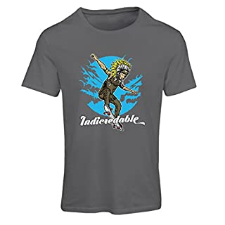 T Shirts for Women Indicredable - Pro Skaters Only! Skateboard Art Design (Large Graphite Multi Color)