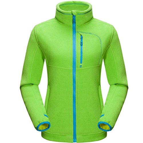 emansmoer Damen Thermische Polar Fleecejacke Bodywarmer Outdoor Mantel Frauen Full Zip Langarm Weich Komfort Jacke (Large, Grün) (Fit-full-zip-jacke)