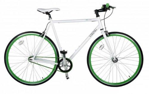 28' Fixie Singlespeed Bike Viking Blade 5 Farben zur Auswahl, Farbe: Weiss / Grün; Rahmengrösse: 56 cm