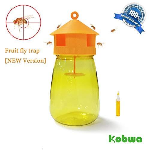 Kobwa Fruit Fly Trap, trappola per mosche Portable device, ricaricabile, attrattivo per insetti, super efficace Drosophila trappola, Drosophila Catcher per fattoria, giardino, cortile, Orchard, verdure Field - Esca dura fino a 25 giorni Trap Bottle + 1*bait