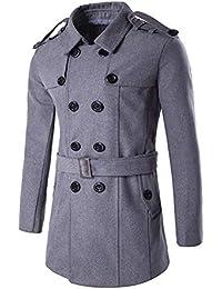 9d6308ee7bb3 Emmay Herren Mantel Seemannsjacke PEA Coat Cabanjacke Jacke Mariner Wolle  Mischung Wesentlich Langarm Revers Slim Fit