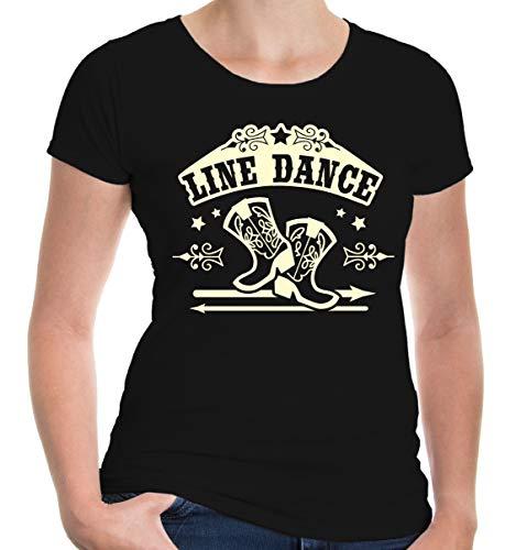 Tanz Kostüm West Wild - buXsbaum Damen Kurzarm Girlie T-Shirt Bedruckt Line Dance | Volkstanz Gruppentanz Country | XXL Black-Beige Schwarz