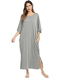 1f10bdd19d0287 Kisshes Damen Lang Baumwolle Nachthemd Kurzarm Nachtwäsche Weich Nachtkleid  Locker Sleepwear Umstandskleid Stillnachthemd mit Taschen S