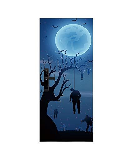 Persevering Melody - MURAL Halloween Bloody Ghost Handprint Hängende Zombie Kreative 3D-Tür Aufkleber Persönlichkeit Holztür Zu Hause Dekor Wandaufkleber Tapete,BD2