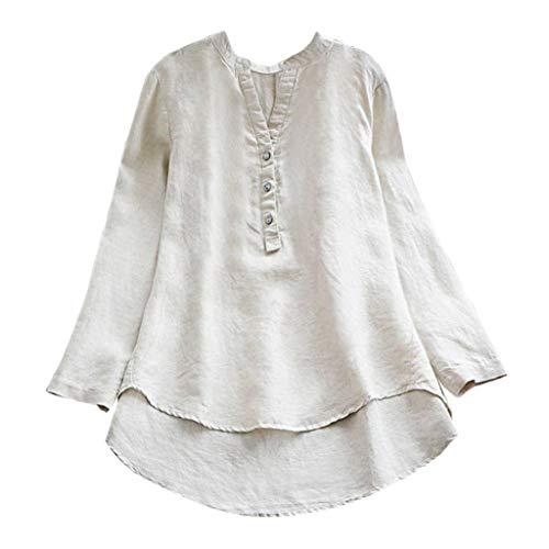 VJGOAL Damen Bluse, Damen Lässige Retro Baumwolle und Leinen Solide OL Stil Langarm Lose Knopf Tops Mini Shirt Bluse (Weiß, 40)