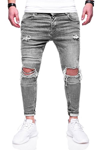 eef2efb569e033 MT Styles Herren Destroyed Jeans Hose JN-3299  Grau