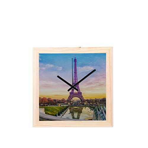 yline Paris Romantische Eiffelturm Nicht tickt Platz Stille Holz Diamant Große Display Digital Batterie Wanduhren Malerei Zifferblatt Für Küche Kind Schlafzimmer Home Office Decor ()