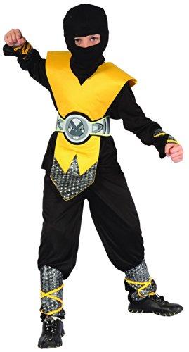 Gelbes Ninja Kostüm für Jungen 122/134 (7-9 Jahre)