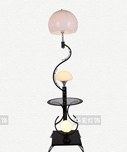 CWJ Beleuchtung - Lange Rod-Lesestehlampe-einfaches Eisen-Moderne Neue chinesische Art mit KaffeeGebühr Tischdekorationslampe Doppelter Schalterhöhe 167cm Kreative Schlafzimmer Vertikale Lampe,Weiß (Chinesische Stehlampe)