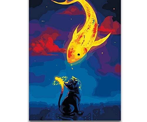 chellonm (Kein Rahmen) Digitale Farbe Nach Zahlen Roter Schwanz Wal Ölgemälde Nach Zahlen Cartoon Anime Ozean Wal Niedlichen Wassertier Malerei Der Kinder -