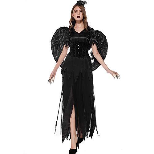 Angel Sexy Dark Kostüm - Frauen Halloween Kostüm, Frauen Halloween Sexy Dark Angel Devil Witch Kostüm, geeignet für Erwachsene Fancy Party Rollenspiel Kostüm Kleider