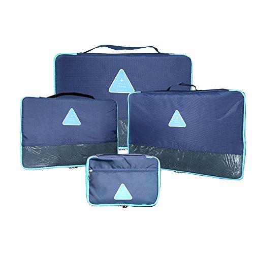 Aogolouk Packtaschen Kleidertaschen Reise Organizer Packwürfel 4-teiliges Set Navy blau
