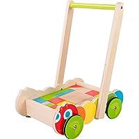 Lauflernwagen Raupe aus Holz, Lauflernhilfe mit bunten Holz-Bauklötzen in verschiedenen Formen, fördert motorische Fähigkeiten und erste Gehversuche