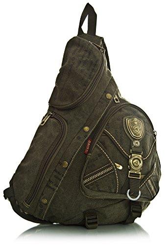 Big Handbag Shop da uomo, in tela monostrap Ciclismo Croce Corpo Messenger Zaino da viaggio Palestra Army Green (HR129)