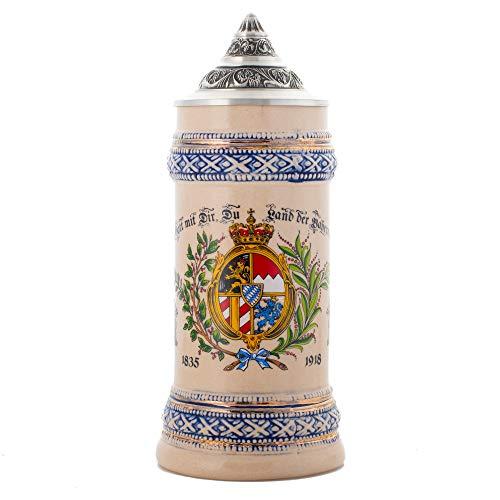 1835-1918 Tasse mit Blattwappen-Motiv, Steingut, Keramik, glänzend, cremefarben/Blau (Tote Oma Halloween)