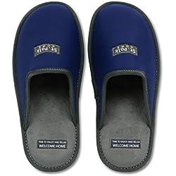 Zapatillas de Estar por casa Hombre/Mujer. Slippers para Verano e Invierno/Pantuflas cómodas, Resistentes, Transpirables y de Interior Suave. Suela de Goma Antideslizante (42 EU, Azul)