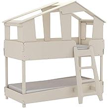 Miroytengo Cama litera Infantil Forma casa cabaña diseño Original Color Beige Unisex con SOMIERES 90x200
