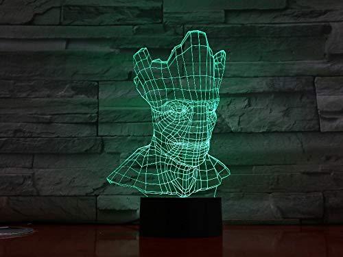 GUANGYING Nachtlichter&Schlummerleuchten Groot Halloween 3D Lampe Optische Täuschung 7 Bunte Tischlampe Led Nachtlicht Gravierte Acryl Nachtlicht Handwerk Kinder (Halloween-schritt Für Handwerk Schritt)