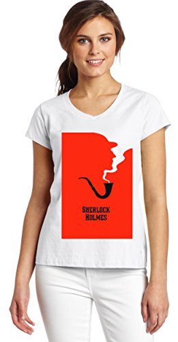 Sherlock Holmes Blood Pipe T-Shirt Women's V-Neck T-Shirt XX-Large (Show Shirt Pipe)