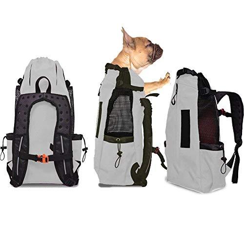 Wldoca zaino per cani trasportino taglia piccola media,borsa per cani regolabile confortevole per outdoor escursione e viaggio in treno trasportino per animali domestici,gray,l