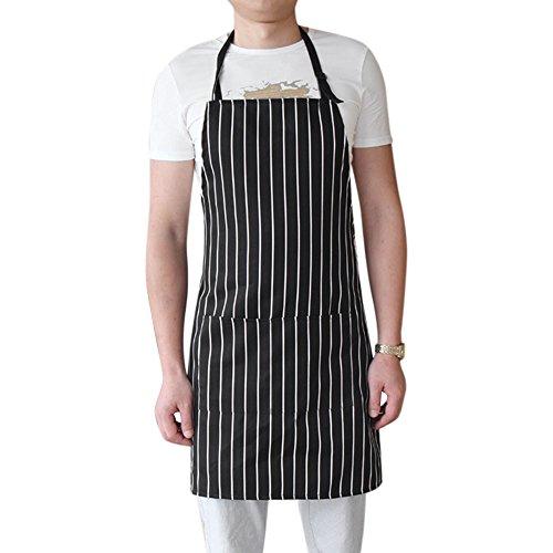 Bodhi2000® Professional Unisex Kitchen Chef's Bib Apron with Pockets Classic Chalk Stripe