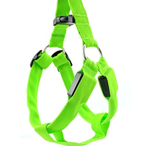 Hund Outdoor-geschirr (Safety Dog Vest Weiches und bequemes LED Harness, keine Pull Hundegeschirr, groß, Hund Pet Hundegeschirr Pet Weste für Outdoor Walking (S, grün))