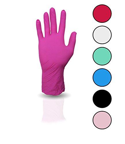 100 Stück Nitril Einweghandschuhe, Einmalhandschuhe puderfreie und unsterile Kochhandschuhe Tättowierhandschuhe Tattoo Handschuhe (magenta, M)