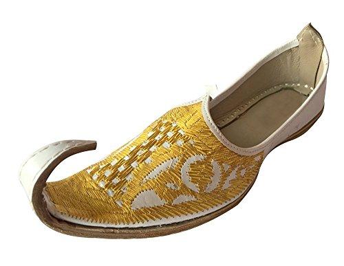 Schritt N Style Herren Vintage Look handgefertigt Leder Schuhe Khussa indischen Aladdin Mojari, weißgold - Größe: 39