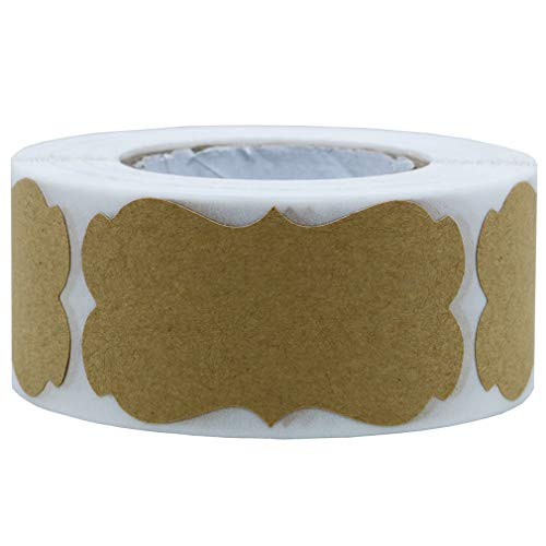 Etichette adesive di carta kraft naturale, 3,2 cm x 5,8 cm, per regali di natale, feste, doni. 300 etichette totali