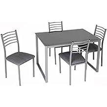 BAKAJI Mesa de Comedor con 4 sillas con Estructura de Metal y baldas de Madera MDF
