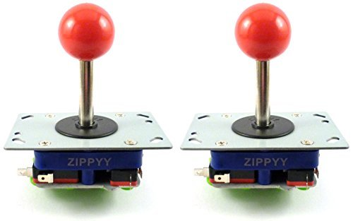 Price comparison product image 2 x Zippyy Ball Top Long Shaft Arcade Joysticks, 2/4/8 Way (Red)