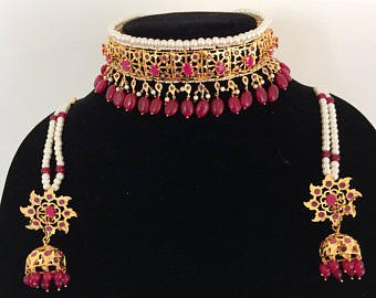 TAZS Gold Plated Hyderabadi Jadawi Choker Necklace for Women