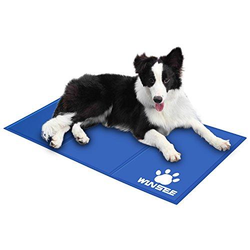 WINSEE Hunde Kühlmatte Kühlkissen Kühldecke,kühlende Hundematte als selbstkühlende Hundebett Hundekissen Hundedecke Autorücksitz für Sommer oder draußen,90x50cm,blau Test